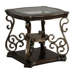 Standard Furniture - Standard Furniture Seville End Table w/ Warm Burnished Bronze Base - The allure of Old World styling abounds in Seville, our Mediterranean influenced table grouping with the added interest of mixed media materials.