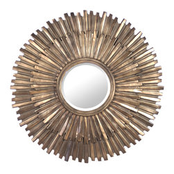 Kathy Kuo Home - Margot Hollywood Regency Antique Bronze Sunburst Mirror - Make every day a sunny one with this eclectic antique bronze mirror. Golden metal rays form the mosaic frame with variations in shading and distressing. The generous scale of the sunburst mirror will light up an entrance, shine in a sitting room and beautify a bedroom.