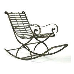 Zentique - Iron Rocking Chair by Zentique - Rock-a-bye like a baby in this iron slatted rocking chair by Zentique. Dainty lines with large swooping frame are set off with a rustic iron finish. Place on a covered patio and the iron will further age in character. Or for a metropolitan 'swing', place in the corner of your modern living room. (ZEN)