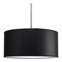 """Progress Lighting - P8824-01 Markor 22 In. Drum Shade Modular Pendant System Black Parchment Paper - Modular pendant system. Choose shade and 1-light stem (P5198) or 3-light stem (P5199) to make complete fixture. 22"""" Drum Shade with Black Parchment Paper inspired by mid-century design."""