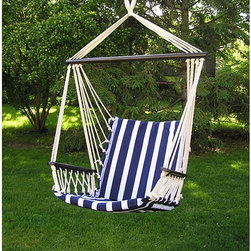 None - Deluxe Bahama Hanging Hammock Sky Swing Chair - Youll never want to go inside when you have this padded hammock swing chair hanging from your porch or favorite tree. The comfortable cotton upholstery in a traditional blue and white design will match many looks in your outdoor space.