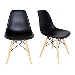 Ariel - Set of 2 Eames Style Dsw Molded Black Plastic Dining Shell Chair - Instantly turn your living quarters into a place for comfortable relaxation with this beautiful 2 dining chair set. Constructed of heavy duty polypropylene seats in matte finish, this stylish chair set is perfect for the home office, training room, or play area. Available in white, black, or light blue.