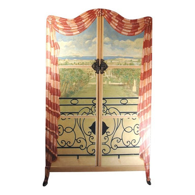 Eco Friendly Furnture and Lighting - France 20th Century French Countryside Armoire This splendid double door armoire depicts the view from a curtained window with wrought iron balcony. The view below is of an elegant and well manicured French garden complete with large statue. This beautifully painted wardrobe cabinet was painted by French artist Jacques Lamy.