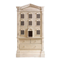 Kathy Kuo Home - Louise French Country Tall Dollhouse 3 Drawer Dresser Cabinet - Every young princess dreams of a beautiful dollhouse with elegant windows and a welcoming front door. This cabinet realizes that dream and adds the reality of three spacious sliding drawers and a large locking cabinet. Finished in slightly weathered white paint, the delicate details of moldings and brick facade, complemented by a dark front door, evoke dreams of happily ever after.