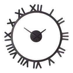 Weightless Time Wall Clock - Don�t let time get you down. Constructed of a circular metal frame with roman numerals to mark the hours, this unique timepiece has a face that appears to float in the center. Great for use on smooth and textured wall surfaces.
