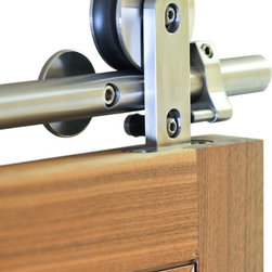 Real Sliding Hardware - Swiss Rod Modern Sliding Hardware - Real Sliding Hardware's Swiss Rod Modern Sliding Hardware looks great in modern homes. Exposed wheels glide on a steel rail for the ultimate barn door look. Great for interior doors where space is limited. Available in stainless steel.