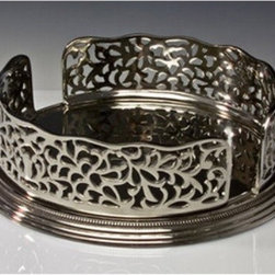 Godinger Open Work Plate Holder - Make your buffet service an elegant affair with the Godinger Open Work Plate Holder. With its handsome detailing and polished silver-plated finish, this beauty is a perfect way to hold your plates.About GodingerBased in Ridgewood, N.Y., Godinger has been creating distinctive kitchenware, home decor, and gifts for over 40 years. Hand-crafted from crystal, pewter, and silver, Godinger's unique wedding gifts and home decor make any special occasion even more meaningful. From serving dishes and silverware, to barware and centerpieces, their wide tableware selection puts the art back into dining. Godinger is committed to providing excellent quality and style at affordable prices for every customer.