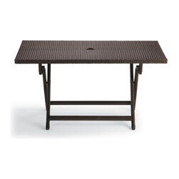Frontgate - Cafe Folding Outdoor Buffet Table, Patio Furniture - Handwoven all-weather fibers. Durable powdercoated aluminum frame. Golden bronze metallic sheen. Our Cafe Folding Buffet Table sets up instantly for guests. The sturdy, beautifully woven table can host platters of food, beverages, and plates, or double as an additional dining table. Woven with all-weather, golden bronze fibers, the table is perfect for al fresco meals and extra guests. Folds for convenient storage.  .  .  .
