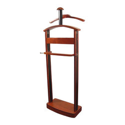 Proman - Proman Men's Valet - Trojan Valet - Cherry /Black Wood Combo - Trojan Valet - Cherry / Black wood combo, capacity for two coats, hat, pant, ties and a 3-compartment tray with black felt . Elegant Design. Hard wood construction throughout. Has place for your hat. Some assembly required.