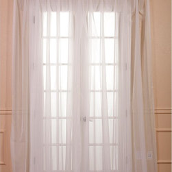 EFF - White Doublewide Poly Voile Sheer Panel - Obscure the view of potential peeping Toms while still giving a hint of a view through this off-white sheer window panel. Indoors,this panel diffuses light nicely to enhance your decor,and it provides an elegant touch to your living room or bedroom.