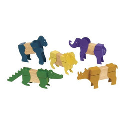 Guidecraft - Guidecraft Block Mates Safari Animals - Guidecraft - Wooden Play Sets - G7603 - Oppenheim Toy Portfolio Gold Award And Instructor Magazine Teacher's Best Pick Safari Animals