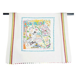 CATSTUDIO - Florida State Dish Towel by Catstudio - This original design celebrates the beautiful sunshine state of Florida. From the Keys to Pesacola, Tampa to Palm Beach, flamingos to alligators. What a great state!  This design is silk screened, then framed with a hand embroidered border on a 100% cotton dish towel/ hand towel/ guest towel/ bar towel. Three stripes down both sides and hand dyed rick-rack at the otp and bottom add a charming vintage touch. Delighfully presented in a reusable organdy pouch. Machine wash and dry.