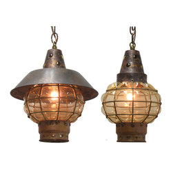 Shiplights - 'Antiqued' Hanging Globe Light (Interior & Exterior Use by Shiplights) - Our ���Antiqued�۪ Hanging Globe Light is made of solid brass/copper and can be used indoors or outdoors in a wide variety of applications.