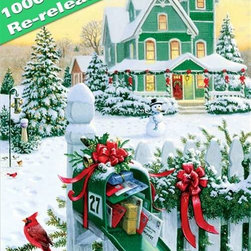 """Holiday Mail Puzzle - 1000 Piece Jigsaw PuzzleAs they say, """"Good things come in small packages."""" With Holiday Mail, you most certainly can see that in the beribboned mailbox just brimming with season's greetings and small, wrapped packages. Rich in the holly and ivy colors of the season the 1000 pieces of this jigsaw puzzle are softened by the golden warmth of an early sunset and the soft glow of a Victorian home trimmed with red ribbons and a blanket of snow. The spots of color and the larger areas shaded with shadows make this a cheerful holiday puzzle as well as one that will prove enticingly challenging!"""