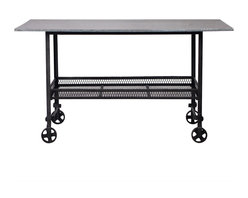 Madison Industrial Style Rolling Table - This table keeps things rolling. It has a cool, industrial aesthetic that makes it a good fit for your loft or modern space. It's also a good piece for use in a retail environment to create eye-catching displays.
