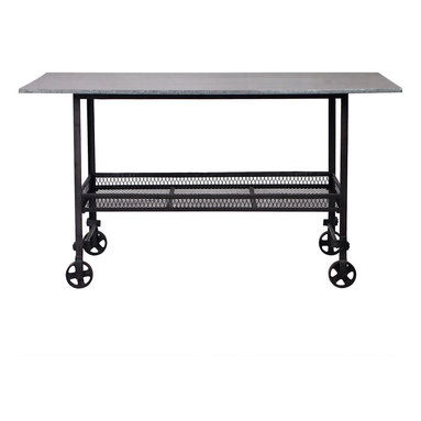 Madison | Industrial Style Rolling Table - This table keeps things rolling. It has a cool, industrial aesthetic that makes it a good fit for your loft or modern space. It's also a good piece for use in a retail environment to create eye-catching displays.