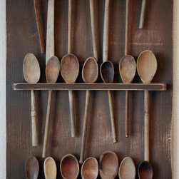 Primitive Antique-style Wooden Spoon Rack by Red Rooster Bed and Breakfast - Finally, I've found a place to adequately show off all my wooden spoons. And it hangs on the wall, which means more counter space.