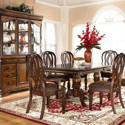 ivgStores Furniture - 10 Pc Dining Room Set w China Cabinet - Create a vintage look dining room with dramatic design elements and a classic appeal with this 10-piece set. It features a rectangular table with a pedestal base, six stylish upholstered chairs and a buffet with a lighted china hutch that allows you to showcase your treasured china in style. Set includes Table Base and Top, 4 Side Chairs, 2 Arm Chairs, Buffet and China. Color/Finish: Medium Brown. Made with select hardwoods and cherry veneer. Prima Vera inlay veneer. Cases have profiled top drawers. Inset lower drawers have framed inlay veneer panels. Antique bronze colored metal hardware. Chair cushion has rich striped chenille fabric cover. China has a mirrored back and is lighted. Table: 42 in. W x 70-88 in. L x 31 in. H. Side Chair: 21 in. W x 23 in. L x 41 in. H. Arm Chair: 24 in. W x 24 in. L x 41 in. H. Buffet: 60 in. W x 18 in. L x 36 in. H. China: 62 in. W x 19 in. L x 44 in. H