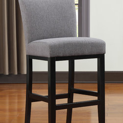 PORTFOLIO - Portfolio Orion Charcoal Gray Linen Upholstered 29-inch Bar Stool - This 29-inch bar stool from Portfolio brings a refined charm to any kitchen nook. The wood is finished in a lovely dark espresso, which contrasts beautifully with the faux-linen upholstery. The Orion barstool has a footrest and lush padding for comfort.
