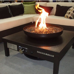 Urban Fire - Powder Coated Gas Outdoor Fireplace in Black - This modern fire pit is great looking and can be used year round. When it's too warm for a fire, the bowl looks great and it can still be used as a table.
