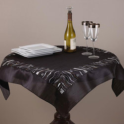 None - Embroidered and Sequined Black 36-inch Square Table Topper - This wonderful topper showcases a stylish embroidered and sequined pattern in black. This ornate square tablecloth will make a fantastic accent to any decor.