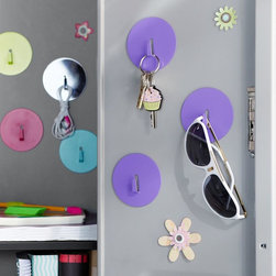 Locker Magnet Hooks, Set of 3 - A girl can never have enough hooks. These magnetic ones are perfect for hanging keys, sunglasses and more.