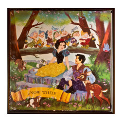 """Glittered Snow White Album - Glittered record album. Album is framed in a black 12x12"""" square frame with front and back cover and clips holding the record in place on the back. Album covers are original vintage covers."""
