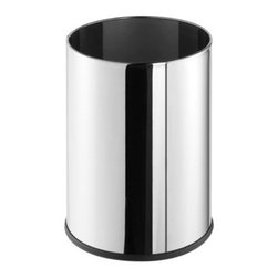 Geesa - Free Standing Round Polished Stainless Steel Waste Bin - Contemporary design free standing 9 liter round waste basket. Waste container is made out of stainless steel with a polished finish. Stylish bathroom waste bin without cover. Made in the Netherlands by Geesa. 9 liter round wastebasket. Contemporary style. Made out of brass. Polished stainless steel finish. Bathroom waste bin without cover. From the Geesa Standard Hotel Collection.