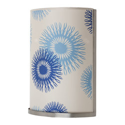 Lights Up! - Meridian Large Wall Sconce, Blue Cornflower Silk - Give your room some unexpected softness with this large, floral printed wall sconce. The curved silk shade with blue cornflowers gently filters the light and adds a sensual touch of color to the room. Try it in the bathroom, bedroom or reading nook for some soothing atmosphere.
