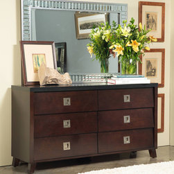 ANGELOHOME - angelo:HOME Marlowe Dresser - Update your bedroom with this elegant six-drawer dresser. With its chocolate brown finish and black top, the dresser looks great and is sure to match your decor. The spacious drawers give you plenty of room to store clothes and other items.