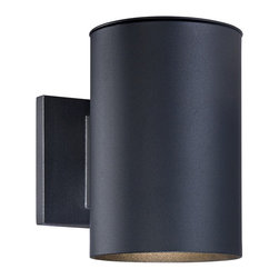 """Lamps Plus - Contemporary Matthis 7 1/2"""" High Black LED Downlight - Add this downlight to your indoor or outdoor spaces for contemporary style lighting. Finished in black and made of aluminum this design is smooth and sleek and great near garage areas and entryways. LEDs add energy efficiency to this lighting fixture. Energy efficient downlight. Black finish. Aluminum construction. Includes 6 watt LED. Light output is 300 lumens. Comparable to a 35 watt incandescent bulb. 2700K color temperature. 9"""" high. 5"""" wide. Extends 8 1/4"""" from the wall.  Energy efficient downlight.  Black finish.  Aluminum construction.  Includes 6 watt LED.  Light output is 300 lumens.  California Title 24 compliant.  Comparable to a 35 watt incandescent bulb.  2700K color temperature.  7 1/2"""" high.  5"""" wide.  Extends 8 1/4"""" from the wall."""