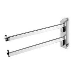Italbrass - Italbrass   Kone Double Towel Holder - Made in Italy by Italbrass®.A part of the Kone Collection. The Kone Double Towel Holder's distinct geometric form adds modern appeal to bath spaces while keeping towels securely in place. Two swiveling arms create more options for hanging towels in corners and tight spaces. This holder has an enduring solid brass construction that withstands daily use. Product Features: