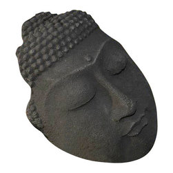 Buddha Face Garden Sculpture - Find a home amidst the greenery in your garden for this freestanding sculpture of the Buddha's face, cast in crushed basalt and cement. It's weatherproof and sure to provide peace to your outdoor space.