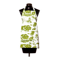 Working Class Studio - Savannah Toile Collection - Apron - Gecko - Isn't it charming the way toile seems to transport you right into its pastoral scene? This cotton twill apron, featuring a tree-laden grassland in bright colors, makes for a lively way to keep neat and brighten your kitchen at the same time.