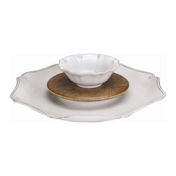 """Juliska - Juliska Berry and Thread 3 Piece Hostess Set Whitewash - Juliska Berry and Thread 3 Piece Hostess Set Whitewash.Sophisticated detailing and practical accouterments make this bowl, server, and cheese board eye-catching and infinitely versatile. Dimensions: 15"""" W"""