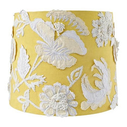 Corsage Table Shade - The detailing of this gorgeous lamp shade has me falling in love. The flowers are all made out of fabric, giving it a unique look.