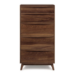 Copeland Furniture - Copeland Furniture Catalina 5 Drawer Dresser 2-CAL-50-04 - Combining the clean, unadorned lines of the International Modernists with organic and geometric forms, the Catalina collection is suggestive of the works of America's Mid-Century Modern designers.