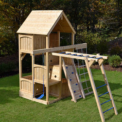 Canterbury Space Saver Climber - White cedar swing set for small yards.
