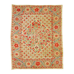 """Handmade Modern Suzani - L1032 - This 60"""" x 76"""" new Suzani will spice up your interior decor whether you use it as a wall hanging or a table covering. Suzanis add a touch of sophistication to many styles of interiors, from traditional to contemporary, to boho - chic decor."""