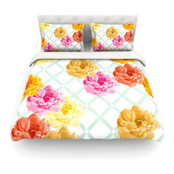 "Kess InHouse - Pellerina Design ""Trellis Peonies"" Yellow Flowers Cotton Duvet Cover (Twin, 68"" - Rest in comfort among this artistically inclined cotton blend duvet cover. This duvet cover is as light as a feather! You will be sure to be the envy of all of your guests with this aesthetically pleasing duvet. We highly recommend washing this as many times as you like as this material will not fade or lose comfort. Cotton blended, this duvet cover is not only beautiful and artistic but can be used year round with a duvet insert! Add our cotton shams to make your bed complete and looking stylish and artistic! Pillowcases not included."