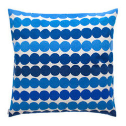 """Räsymatto 22"""" Pillow Sham by Marimekko - This pillow adds some lovely pops of blue and a bead pattern wherever you decide to toss it."""