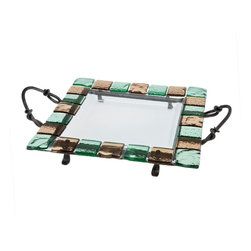 "Danya B - Square Platter with Colored Glass Tiles on Metal Stand - Make an eye-catching serving statement with this dazzling square glass tray on metal stand. This clear 14.25 x 14.25"" glass plate is surrounded with translucent green and brown glass tiles and rests on an iron stand with twisted decorative serving handles; providing a unique way to feature your selection of cheese, hors d'oeuvres, crudités or desserts.  Vibrant glass tray can be easily removed from iron stand and able to be used alone.  Food safe.  Hand wash recommended."