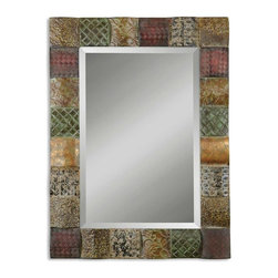 "Grace Feyock - Grace Feyock Ganya Transitional Rectangular Mirror X-B 76331 - This decorative mirror features hand embossed sheet Metal over convex Wooden squares. Frame is finished in a combination of rust brown, sage green, aged white, antiqued gold and mahogany. Mirror features a generous 1 1/4"" bevel. May be hung either Horizontal or Vertical."