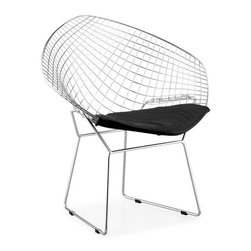 ZUO - Net Dining Chair - Black - Architecturally intriguing, the Net Dining Chair is made of solid chrome. Swooping lines make the wire mesh a comfortable spot for feasting. The cushion comes in black or white.
