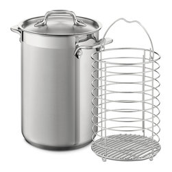 """All-Clad - All-Clad Asparagus Pot w/Insert - The tall, narrow stainless pot with steamer insert cooks asparagus perfectly, boiling the thicker stems while allowing the delicate tips to steam.  Finest-quality, highly-polished 18/10 stainless steel Easy to clean stainless will not react with food Single ply Stainless riveted loop handles Made in China Size: 5.75"""" x 8.75"""" Weight: 4 lbs."""