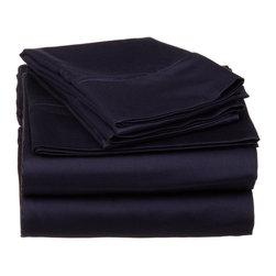 530 Thread Count Egyptian Cotton Split King Navy Blue Solid Sheet Set - 530 Thread Count Egyptian Cotton Split King Navy Blue Solid Sheet Set