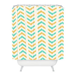 DENY Designs - Allyson Johnson Sunshine And Mint Shower Curtain - Who says bathrooms can't be fun? To get the most bang for your buck, start with an artistic, inventive shower curtain. We've got endless options that will really make your bathroom pop. Heck, your guests may start spending a little extra time in there because of it!