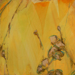 Poppy Study I (Original) by Denise Souza Finney - This is a painting using the subject of the poppy as a vehicle to explore color, texture, and movement.  No other flower to me is as light and airy as the poppy,  It is a delightful challenge to capture its dancer like nature.