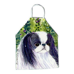 Caroline's Treasures - Japanese Chin Apron SS8730APRON - Apron, Bib Style, 27 in H x 31 in W; 100 percent  Ultra Spun Poly, White, braided nylon tie straps, sewn cloth neckband. These bib style aprons are not just for cooking - they are also great for cleaning, gardening, art projects, and other activities, too!