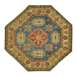 Manhattan Rugs - New Geometric Octagon Baby Blue Kazak Hand Knotted Wool Area Rug H6222 - Kazak (Kazakh, Kasak, Gazakh, Qazax). The most used spelling today is Qazax but rug people use Kazak so I generally do as well.The areas known as Kazakstan, Chechenya and Shirvan respectively are situated north of  Iran and Afghanistan and to the east of the Caspian sea and are all new Soviet republics.   These rugs are woven by settled Armenians as well as nomadic Kurds, Georgians, Azerbaijanis and Lurs.  Many of the people of Turkoman origin fled to Pakistan when the Russians invaded Afghanistan and most of the rugs are woven close to Peshawar on the Afghan-Pakistan border.There are many design influences and consequently a large variety of motifs of various medallions, diamonds, latch-hooked zig-zags and other geometric shapes.  However, it is the wonderful colours used with rich reds, blues, yellows and greens which make them stand out from other rugs.  The ability of the Caucasian weaver to use dramatic colours and patterns is unequalled in the rug weaving world.  Very hard-wearing rugs as well as being very collectable